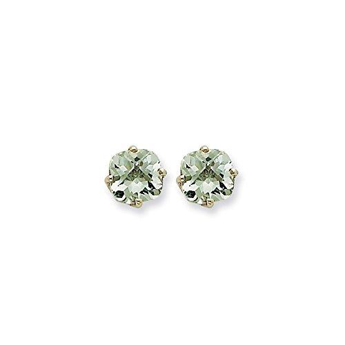 Top 10 Jewelry Gift 14kw 7mm Cushion Green Quartz Earring