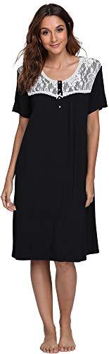 GYS Women's Short Sleeve Nightgown, Black, Small