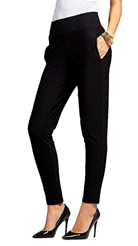 Premium Women's Stretch Dress Pants - Treggings - Slim Black - Large - YS07-Solid-Black-L Belted Bootcut Relaxed Jean