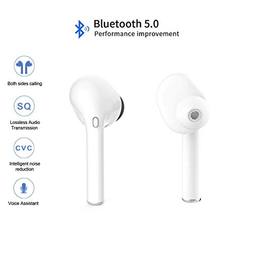 Wireless Bluetooth Headset, Wireless Headset Stereo Bluetooth Headset in-Ear Built-in Handsfree Microphone for Apple Airpods Android/iPhone
