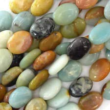 16mm Multicolor Blue Amazonite Flat Oval Beads 16