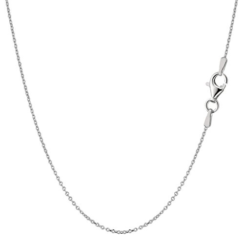 Sterling Silver Rhodium Plated Cable Chain Necklace, 0.8mm, (Rhodium Plated Sterling Silver Chain)