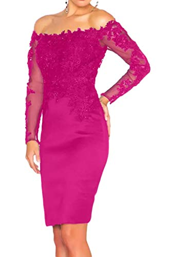 Satin Langarm Spitze Braut Schmaler von La Schwarz Knie Promkleider Marie Schnitt Oberhalb Abendkleider Partykleider Pink Xtw1Uwqn
