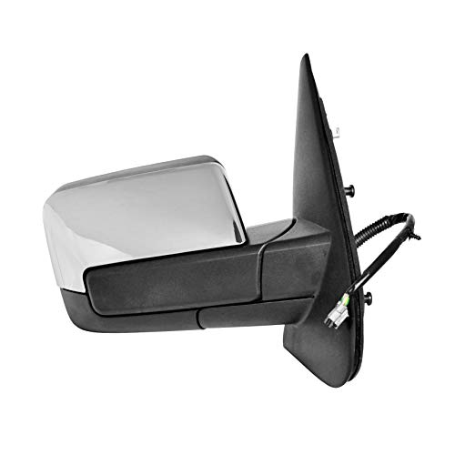 Passenger Side Power Operated & Heated Mirror With Signal & Paddle Lamp With Chrome Finish Cover Fits 2009-2010 Lincoln Navigator - Power Folding