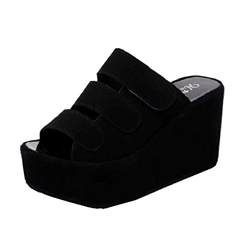 CYBLING Fashion Women Summer High Platform Slides Anti-Slip Casual Slip On Wedge Sandals ()