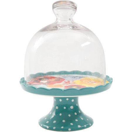 The Pioneer Woman Flea Market Mini Floral Cupcake Stand with Lid (1) (Glass Dome Cupcake Stand)