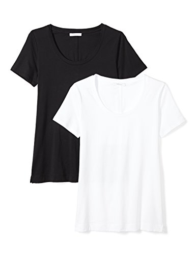 Tee Scoop Neck White (Daily Ritual Women's Lightweight 100% Supima Cotton Short-Sleeve Scoop Neck T-Shirt, 2-Pack, XL, Black/White)