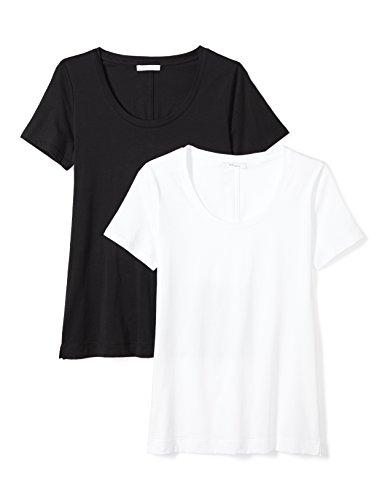 Neck White Scoop Tee (Daily Ritual Women's Lightweight 100% Supima Cotton Short-Sleeve Scoop Neck T-Shirt, 2-Pack, XL, Black/White)