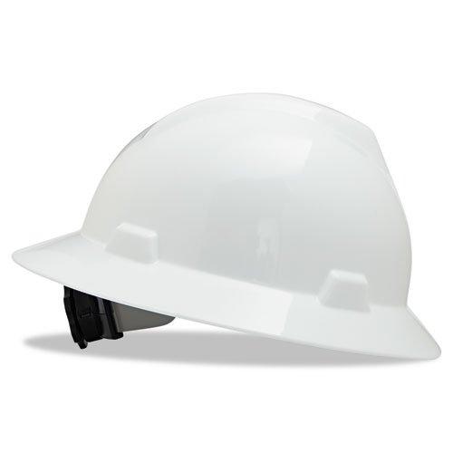 MSA 475369 V-Gard Hard Hat Full Brim with Ratchet Suspension, Standard, White from MSA