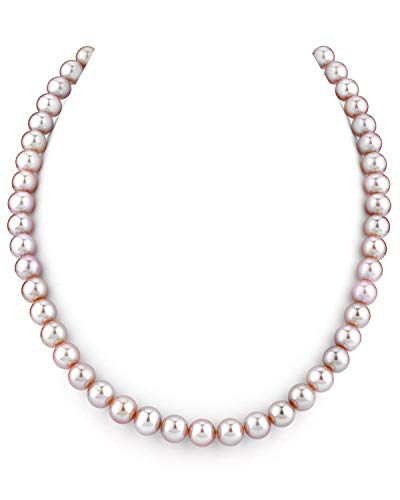 THE PEARL SOURCE 7-8mm AAA Quality Round Pink Freshwater Cultured Pearl Necklace for Women in 16