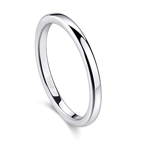 Greenpod 2mm Tungsten Carbide Rings for Women High Polished Thin Plain Domed Engagement Wedding Band Size 5