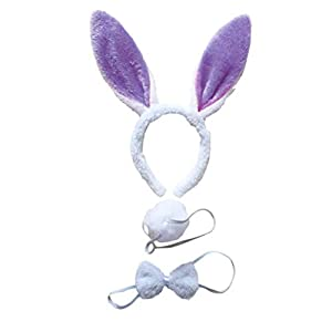 - 3185xCqSHkL - BinaryABC Bunny Rabbit Costume Set,Ears Headband Bow Ties Tail Set,Halloween Costume Assesories