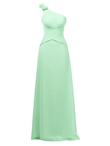 Shoulder Bridesmaid Maxi Chiffon Evening Dress Bridal Green Asymmetric One Alicepub Mint Dress AwfqBSp