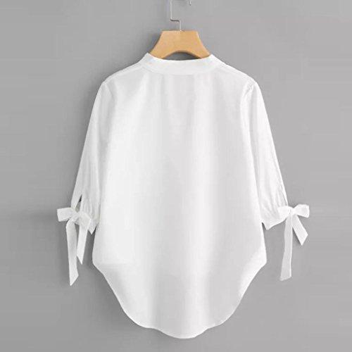 Chic Bandage Col Vest Casual Chemisier Quarts irrgulire Femme Lache Manches Trois Blouse Tops Lady Loisirs Dcontract Blanc V Shirt T et Solide Automne AqEC0wdx