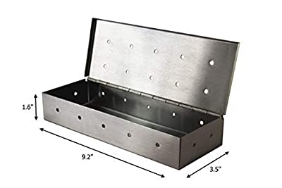 Grill Gods Smoker Box for BBQ Grill Wood Chips - 30% More Holes for Better Flavor - Stainless Steel Smoker - Gas and Charcoal Barbecue Smoking with Hinged Lid Grilling Accessory