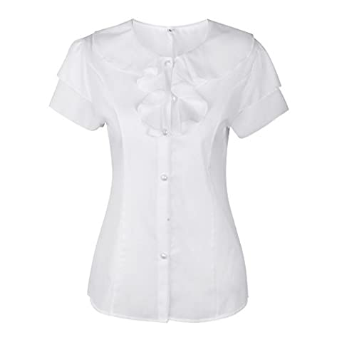 SHENERMAY Women's Flouncing Short Sleeve Round Neck Slim Chiffon Top Shirt Blouse Office Wear White - Designer Sheer