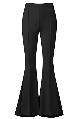 - BaiShengGT Lounge Pants Women, Women's Boho Solid Hippie Wide Leg Flared Bell Bottom Pants M Black