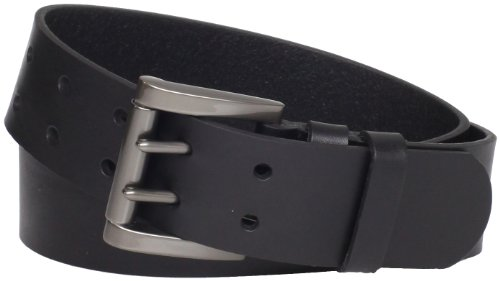 - Levi's Men's Work Belt - Heavy Duty Thick Wide Soft Leather Strap with Silver Double Prong Buckle,Black,38