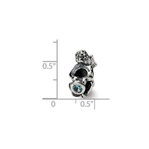 Solid .925 Sterling Silver Reflections December CZ Antiqued Bead 16.36 mm Cubic Zirconia Antiqued Bead