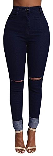 Baifern Women's Knee Ripped Hole Denim Jeans Pants