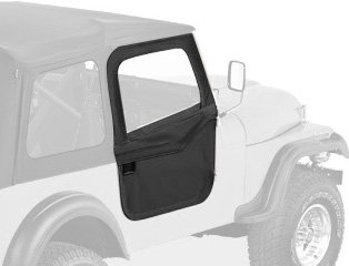 Bestop 51778-15 Black Denim 2-Piece Door Set for 1976-1986 CJ-7 - Front (Door Strikers Included)