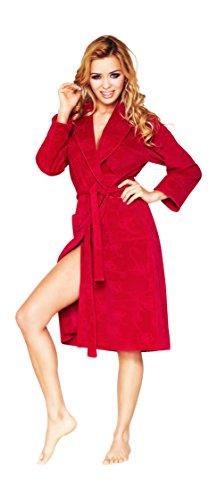 Bata Corta de Lujo para Mujer con Estampado de Flores Rojo
