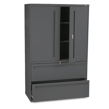 67 Charcoal (HON Products - HON - Brigade 700 Series Lateral File With Storage Cabinet, 42 x 19-1/4 x 67, Charcoal - Sold As 1 Each - Hinged doors conceal 36 1/4amp;quot; storage space with two adjustable shelves. - Bottom shelves hold two rows of three-ring binders. - Keyed alike locks secure doors and lateral file drawers independently. - Two lateral file drawers with steel bearing suspension for letter/legal size filing. - Three-part telescoping slide suspension.)
