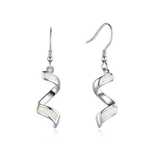 FANCIME Sterling Silver White Opal Spiral Ribbon Dangle Earrings Hook Drop Earrings Jewelry for Women Girls