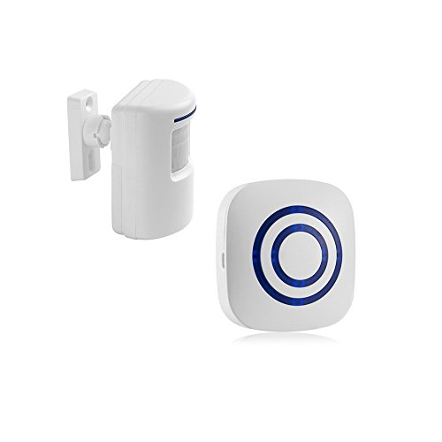 Wireless Driveway Alert System,1 Battery-Operated Motion Sensor Detector and Plug-in Receiver, Long Range Home Security Alarms
