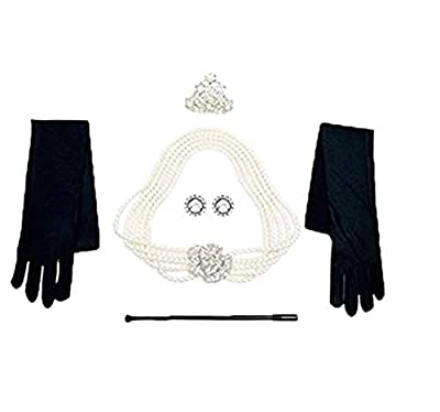 Audrey Hepburn Breakfast at Tiffany's Pearl Jewelry and Accessory Set Flapper Costume for Women