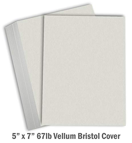 Hamilco Colored Carstock Thick Paper Gray Bristol Vellum Card Stock - Blank Index Flash Note & Post Cards 5 x 7