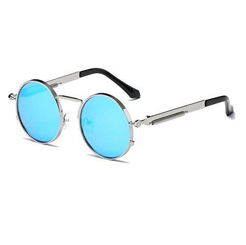 soleil Classique Keephen Hippy Steampunk de conduite Frame Bleu lunettes Vintage Lunettes Round UV400 Argent 8dZZpqW
