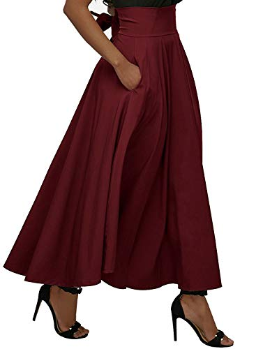 Calvin & Sally Women's Casual Flowy Dress High Waist Pleated Midi Skirt with Pockets (X-Large, Red) by Calvin & Sally