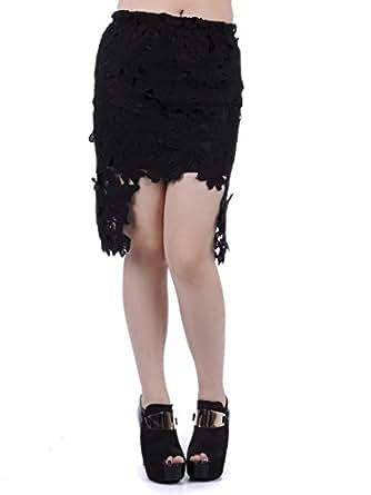 Anna-Kaci S/M Fit Black Floral Crochet Applique High Low Cut Away Hem Skirt
