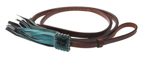 K & TEAL Ombre Fringe Over Under Whip Rhinestone Concho (Over Rhinestone)