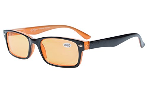 Eyekepper Spring Hinges UV Protection,Anti Glare Anti Blue Rays,Scratch Resistant Lens Computer Reading Glasses Readers (Orange Tinted Lenses, Black-Yellow) +1.25