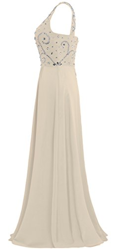 Prom One Gown Long ANTS Dresses Women's Bead Shoulder Champagne Chiffon OHnnUq0