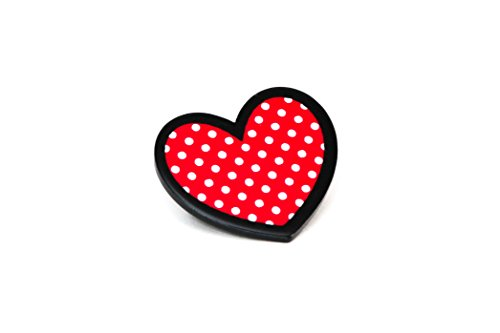 [Valentine's Day Heart Polka Dot Brooch Pinback Button] (Tardis Costume Etsy)