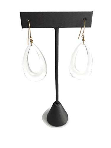Crystal Clear Lucite Teardrop Earrings | Vintage Acrylic Statement Jewelry Acrylic Gold Plated Earrings