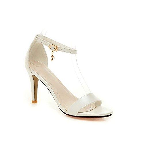 AllhqFashion Women's Buckle Open Toe High Heels Pu Solid Sandals White