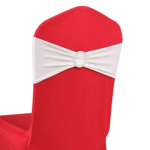 LOVWY 10 PCS Spandex Chair Bands Stretch Chair Sashes Bows for Wedding Party Engagement Event Birthday Graduation Meeting Banquet Decoration (10 PCS, - Pc Understanding