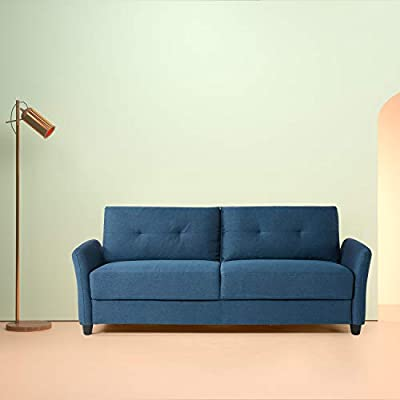 Zinus Ricardo Contemporary Upholstered 78.4 Inch / Living Room Couch, Lyon Blue - Easily assembles with a friend, no tools needed, in under 20 minutes A naturally-strong wood frame is wrapped in cozy, supportive foam cushioning Smartly shipped in one box - All parts for assembling your sofa are located in the enclosed compartment on the bottom of the base section - sofas-couches, living-room-furniture, living-room - 3186CCy7SmL. SS400  -