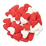 Red and White Heart Shaped Cupcake Sprinkles - Cookie Sprinkles 1 oz