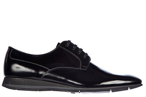 Prada scarpe stringate classiche uomo in pelle nuove derby spazzolato soft nero