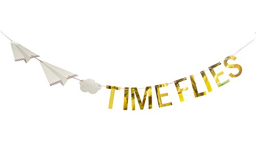 Time Flies Birthday Banner Pink Gold Party Airplane Party Hanging Decoration 5.9ft Easy -