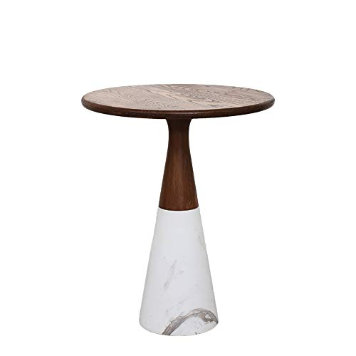 XBBZ Marble Small Coffee Table, New Chinese Style Living Room Sofa Side Table, Wooden Small Round Table, Magazine Table,Size: D40×H58CM ()