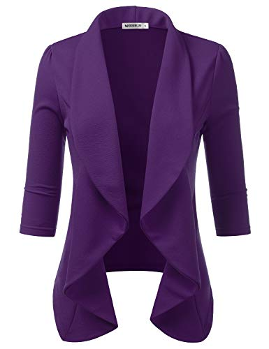Doublju Womens Lightweight Thin 3/4 Sleeve Open Front Blazer with Plus Size? Plum XL