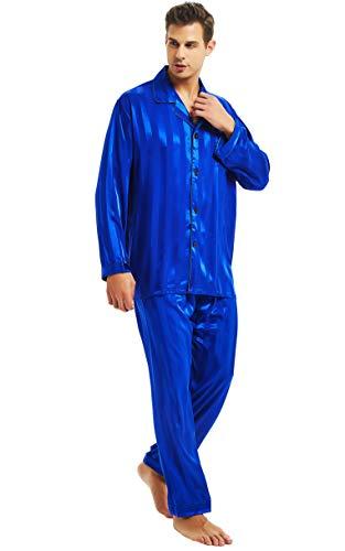 Personalized Pajama Sets - Mens Silk Satin Pajamas Set Sleepwear