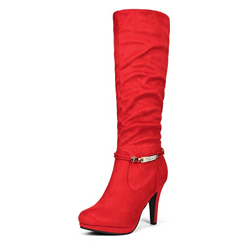 DREAM PAIRS Women's Sarah Red Knee High Platform Heel Boots Size 8.5 M US