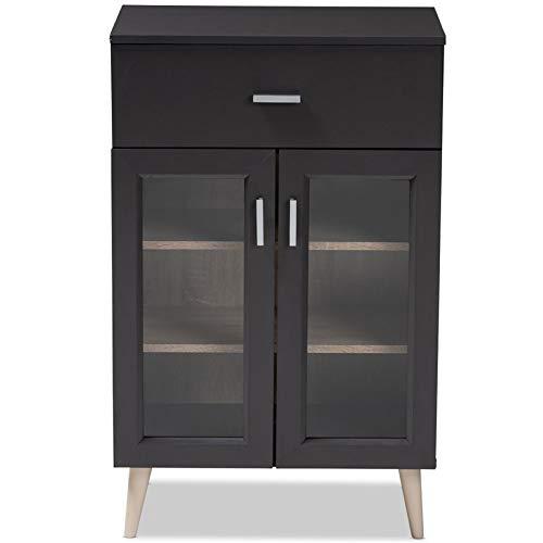 Baxton Studio Jonas Server Cabinet in Dark Grey and Oak Brown by Baxton Studio (Image #3)